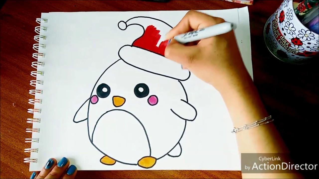 Pinguino Navideño Dibujo Navidad Facil Youtube