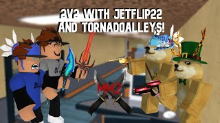 2v2 with @tornadoalleys and @AnthonyJet22 in Murder Mystery 2! (YouTubers V.S Top Players)