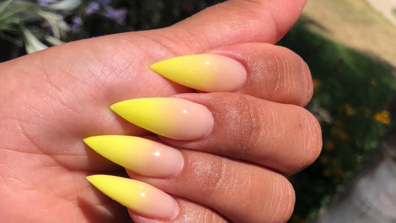 how to shape stiletto nails - YouTube