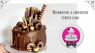 Decorating a chocolate turtle cake!