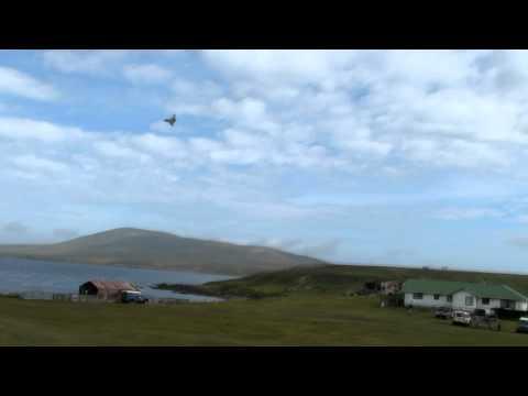Santa flies over Pebble Island, Falkland Islands in a Typhoon fighter jet