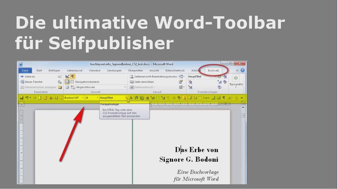 Die ultimative Word-Toolbar für Selfpublisher - YouTube