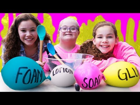 Making Slime With Balloons! Slime Balloon Tutorial (Sarah Grace & Haschak Sisters)