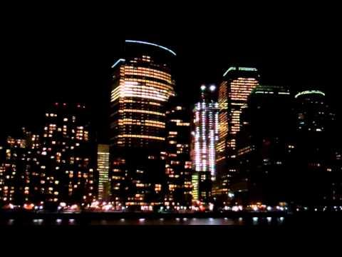 Downtown New York City Skyline - Battery Park Area - Filmed from Hudson River