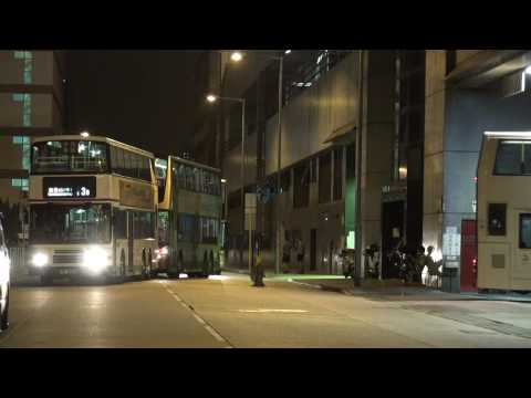 Hong Kong Kowloon Bay KMB Bus Depot Action on late Sunday night!!!