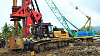 Excavator Drilling Rig Crane Ready Mix Trucks Working On The Deep Foundation Railway Construction