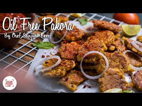 Oil Free Pakora with Red Garlic Chutney Recipe | ऑइल फ्री पकोड़ा | Chef Sanjyot Keer