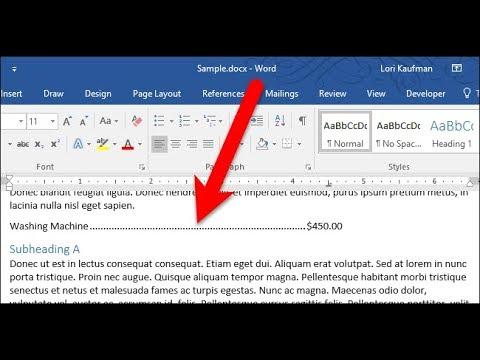 Inserting A DOT LEADER Tab - Microsoft Word 2016