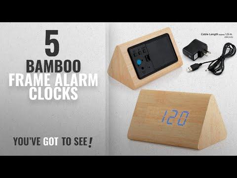Top 10 Bamboo Frame Alarm Clocks [2018 ]: GEARONIC TM Modern Triangle Wood LED Wooden Alarm Digital