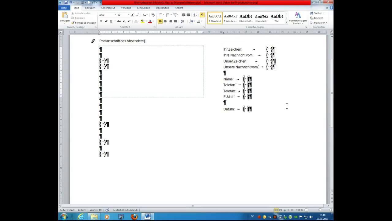 Ms Office Word 2010 Tutorial Geschäftsbrief N Din 5008 M Dokumentvorl Erstellen