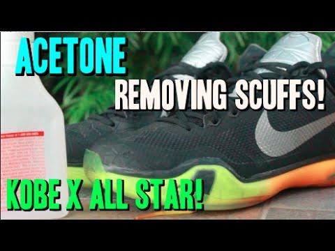 Using Acetone to remove scuffs! Nike Kobe X All Star!