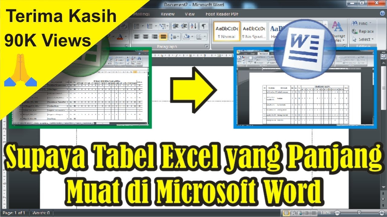 Tutorial Cara Supaya Tabel Excel Yang Panjang Muat Di Microsoft Word 2007 Simple News Video Youtube