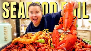 KING CRAB LEGS + GIANT SHRIMP + LOBSTER +  + CRAWFISH SEAFOOD BOIL MUKBANG 먹방 EATING SHOW!