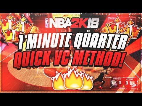 1 MINUTE QUARTER GLITCH NBA 2K18 600VC PER GAME 4 MINUTE GAME!! VC NBA 2K18