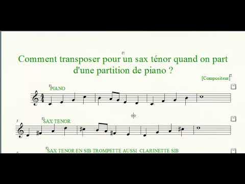 Comment Transposer Une Partition De Piano Pour Un Sax Tenor Youtube