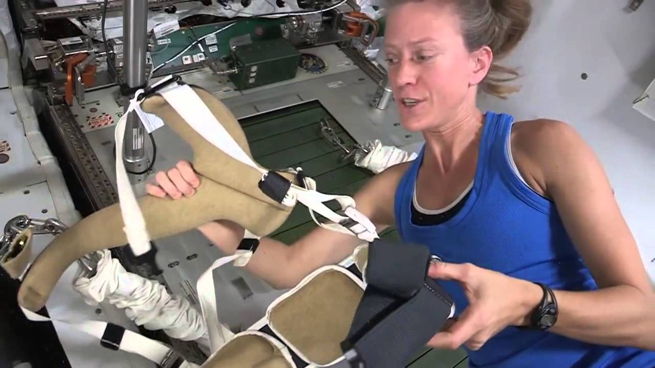 Space Station Astronaut Demonstrates the COLBERT Treadmill ...