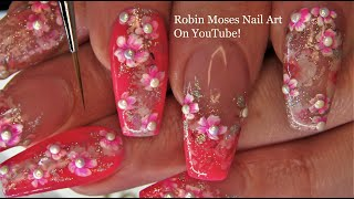 Gel Polish with Hand Painted Neon Pink Flowers! Robin Moses Nail Art
