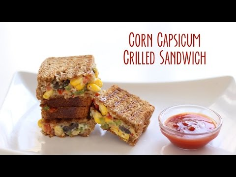 Corn Capsicum Cheese Grilled Sandwich Recipe by Gopi | Corn Capsicum Sandwich