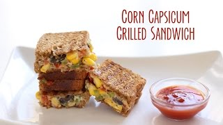 Corn Capsicum Cheese Grilled Sandwich Recipe