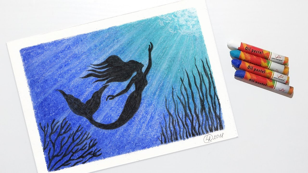 How to Draw a Mermaid Underwater - Oil Pastel Drawing for ...