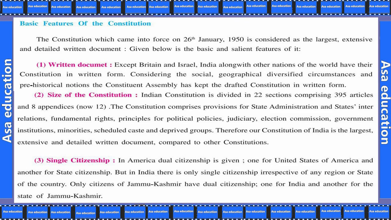 Ch 8 3 Framing Of Constitution And Its Features Social Science Grade 9 Gseb Easy Exp In Hindi Youtube