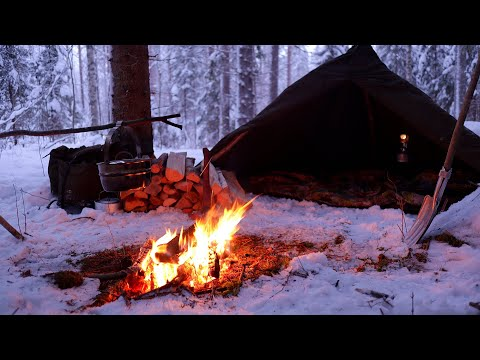 Winter camping in Snowy Forest - Bushcraft, Polish lavvu tent, Campfire cooking