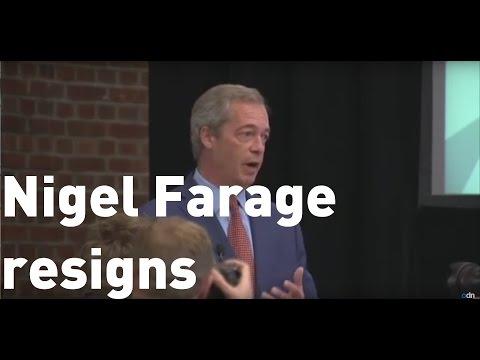 Nigel Farage's shock resignation as UKIP leader (Full speech)