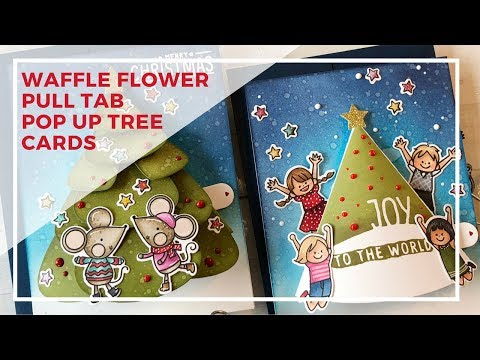 Waffle Flower Stamps | Pull Tab Pop Up Christmas Tree Cards
