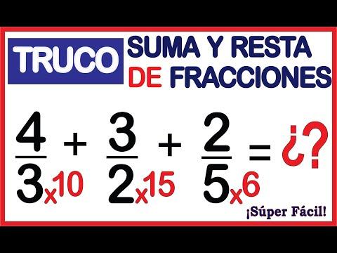 SUMA Y RESTA DE FRACCIONES - Súper Truco - 🚀 ¡ Muy Fácil!🚀 from YouTube · Duration:  11 minutes 24 seconds