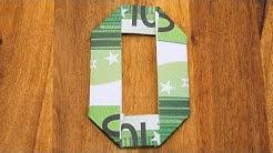 Zahl 0 falten mit Euroscheinen, Geldgeschenke Origami #10/10