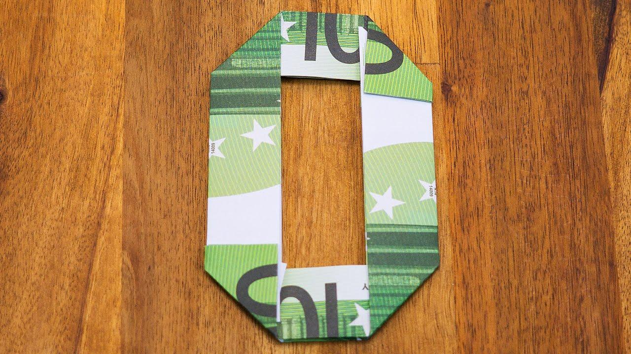 zahl 0 falten mit euroscheinen geldgeschenke origami 10 10 youtube. Black Bedroom Furniture Sets. Home Design Ideas