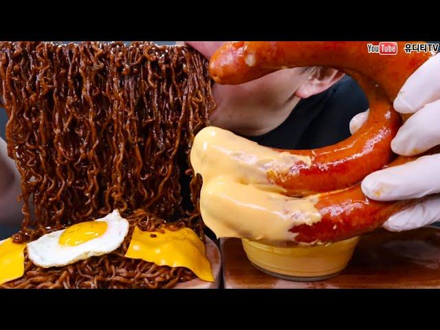 ASMR 사천 짜파게티 & 계란 & 치즈 & 신상불꽃킬바사 SPICY CHEESE EGG BLACK BEAN  NOODLES & NEW KIELBASA SAUSAGE MUKBANG
