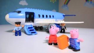 Мультик с игрушками Свинка Пеппа и Джордж в аэропорту летят на самолете Новые серии на русском языке