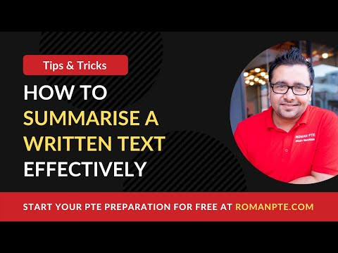 How to summarise a written text in PTE