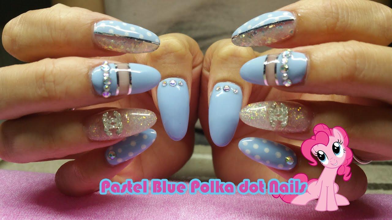 Pastel Blue polka dot acrylic Nails - Nail Polish - YouTube