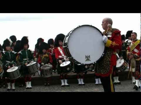Massed Pipes and Drums pre tattoo warmup