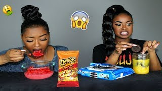 WEIRD and INSANE Food Combinations PEOPLE LOVE CHALLENGE !!! GROSS & FUNKY FOODS 🤢 | Pitts Twins