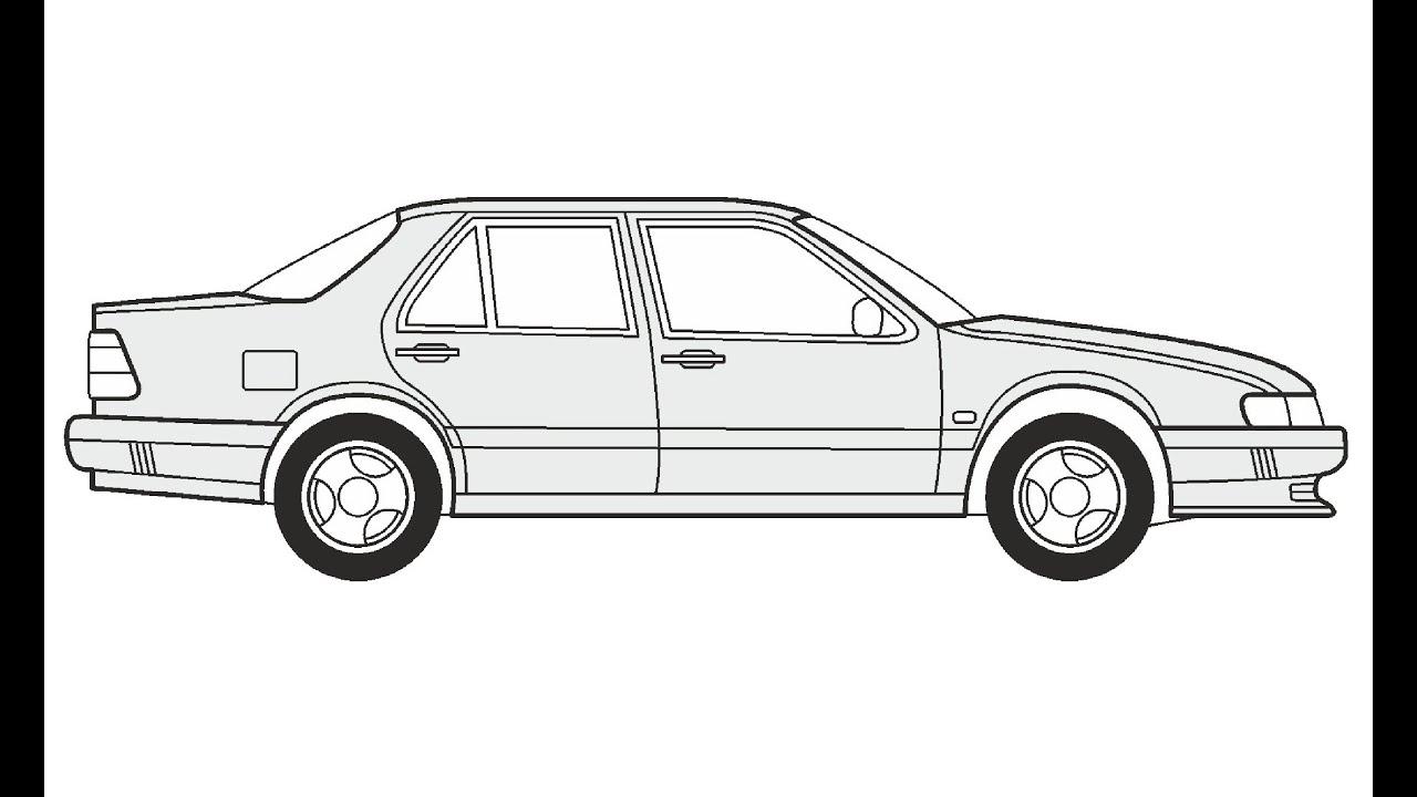 How to Draw a Saab 9000 CD / Как нарисовать Saab 9000 CD
