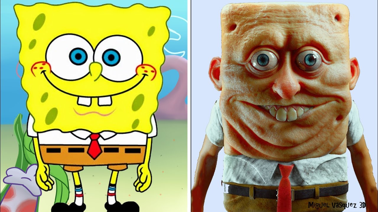 cartoon characters in real
