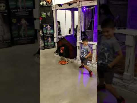 brandon exploring the halloween store