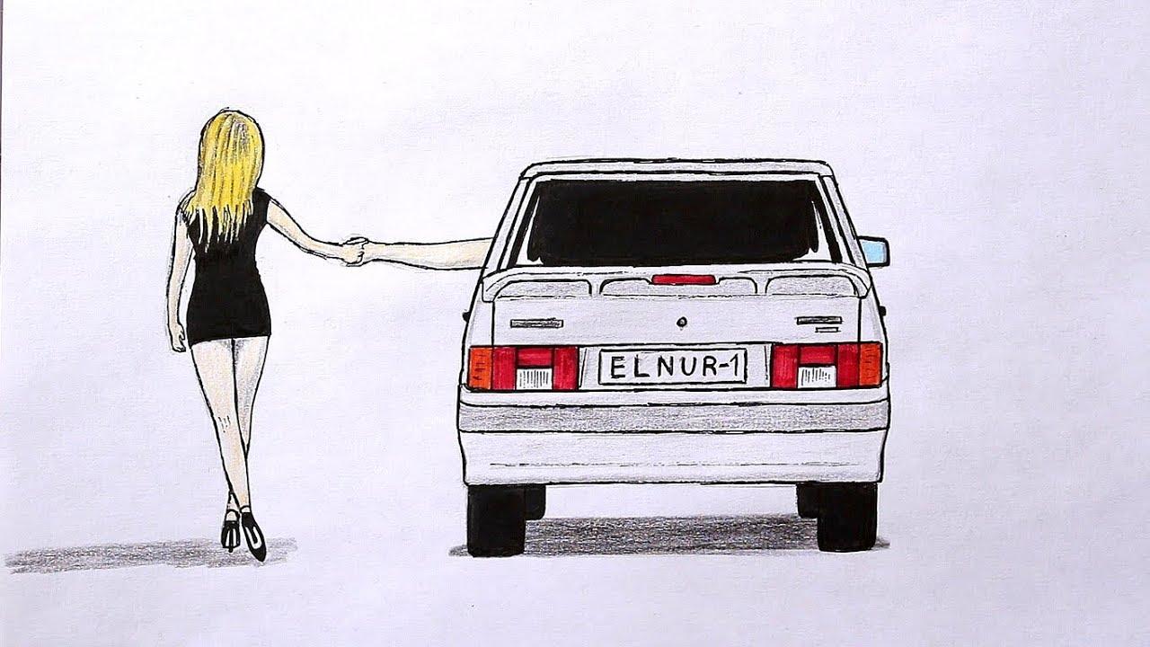 Как нарисовать машину Ваз 2114 поэтапно - YouTube