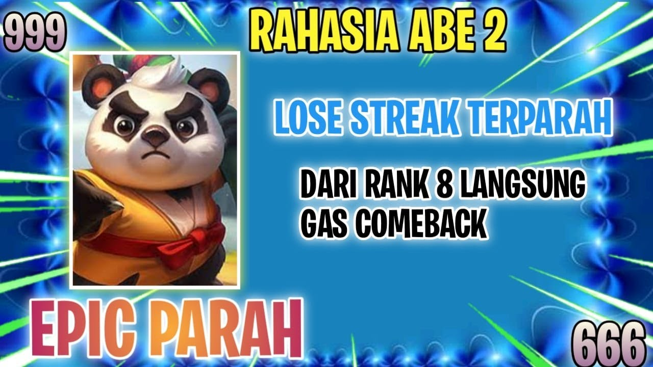 TRIK ABE 2 BAKAL META PARAH?LOSE STREAK DARI RANK 8 DARAH 18 SAMPE COMEBACK - MAGIC CHESS INDONESIA