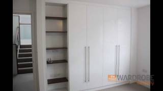 Bespoke Fitted Wardrobes High Gloss White With Open Bookcase