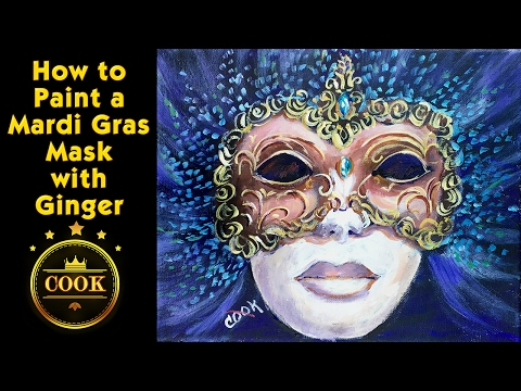 How to Paint a Mardi Gras Mask with Acrylic Paints for Beginners by Ginger Cook