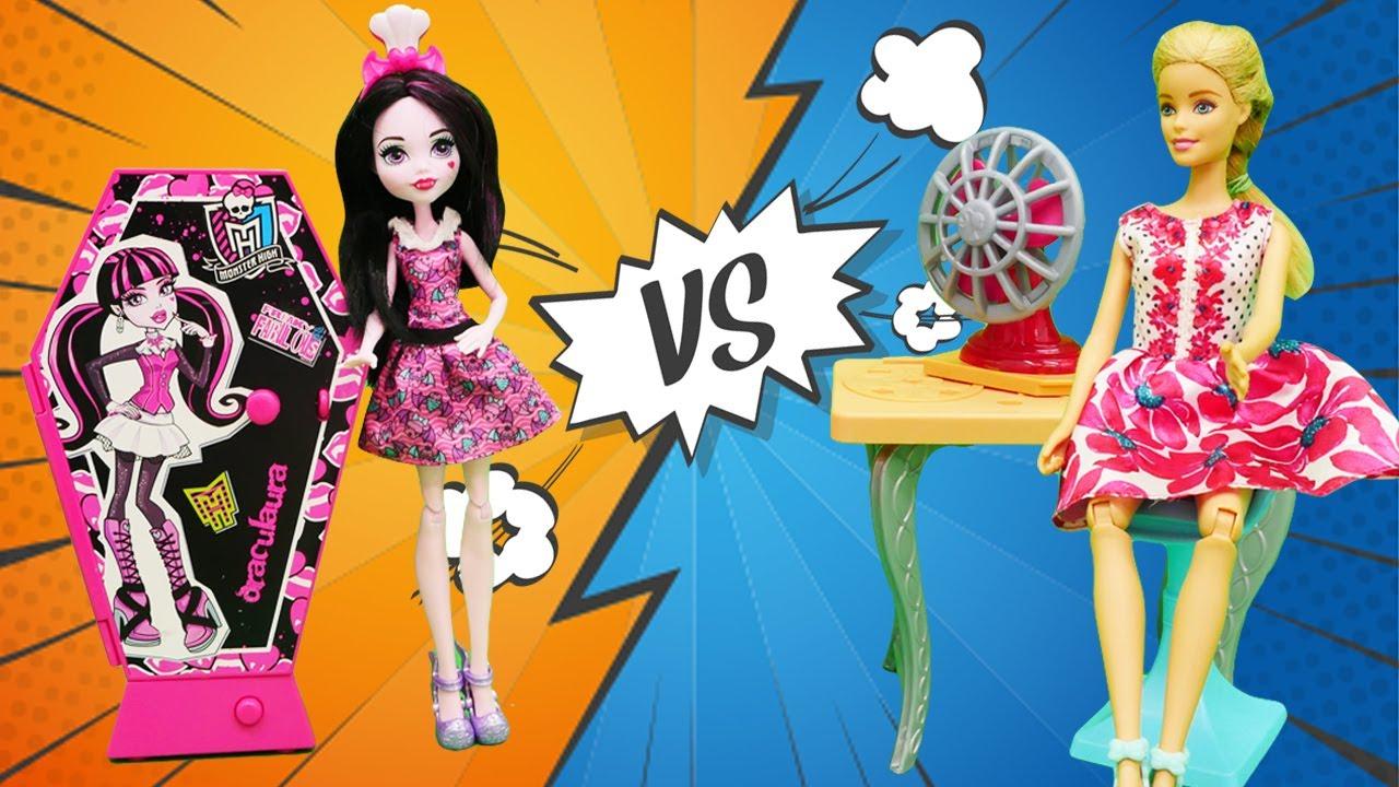 La casa de muñecas: Barbie vs Monster High. Juegos para niños con Selín. Vídeos para niñas
