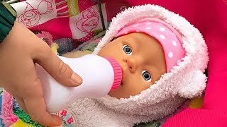 Funny Kid Masha Pretend Play with Baby Dolls in Outdoor Playground. Videos with Toys by Kids