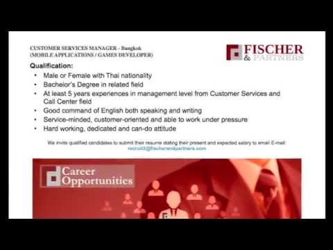 CUSTOMER SERVICE MANAGER - Fischer & Partners Recruitment Company - Bangkok, Thailand