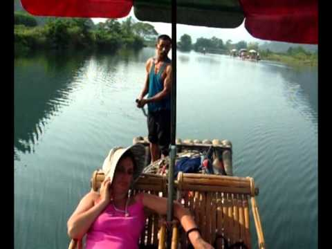 Bamboo rafting in Yulong river in Yangshuo