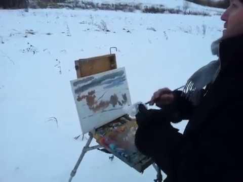 Живопись маслом, пейзаж | Художник пишет этюд зимой на природе