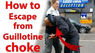 How to escape from Guillotine choke Like Master Wong says in the vi...